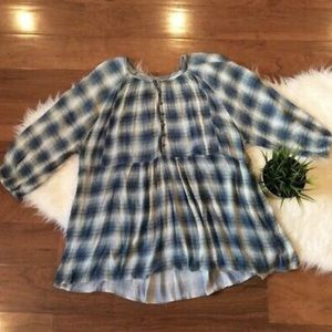 Maeve Anthropologie Plaid Tunic Large